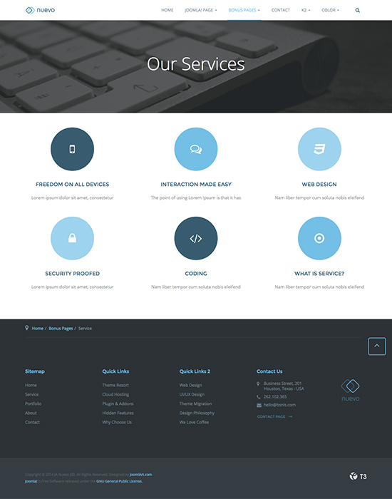 joomla template for service - JA Nuevo