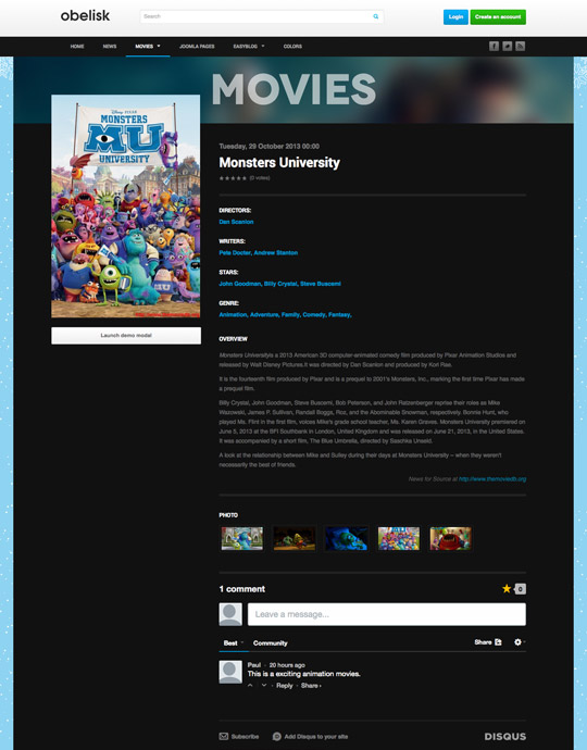 movie and entertainment joomla template - ja obelisk