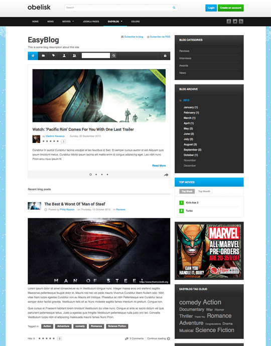 movie and entertainment joomla template - ja obelisk easyblog page