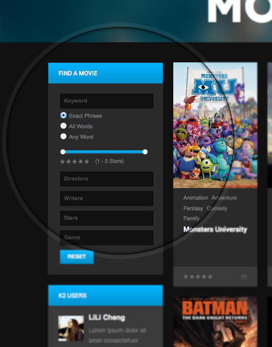 movie and entertainment joomla template - ja obelisk k2 filter page
