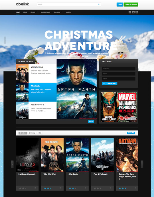 movie and entertainment joomla template-  ja obelisk
