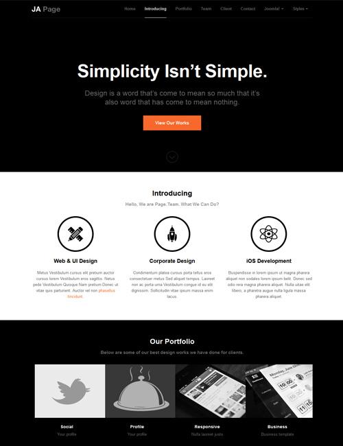 Ja Onepage One Page Joomla Template For Business Joomlart