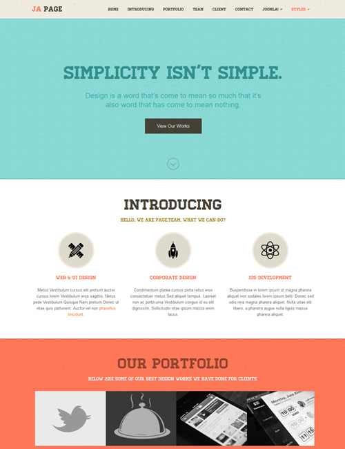 Retro theme of one page Joomla template - JA Onepage