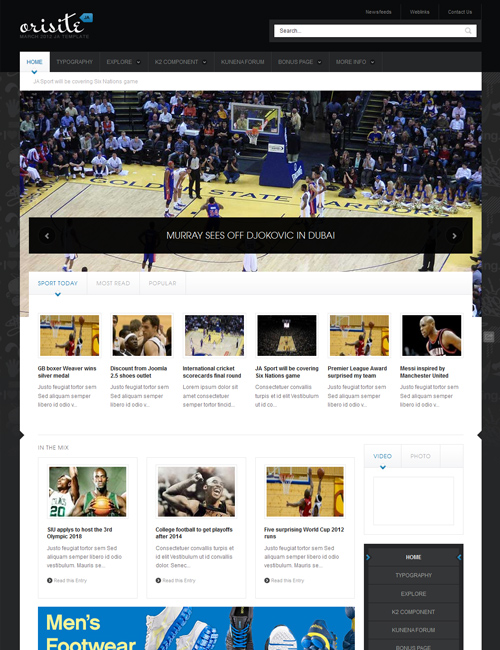 sports joomla template JA Orisite blue theme