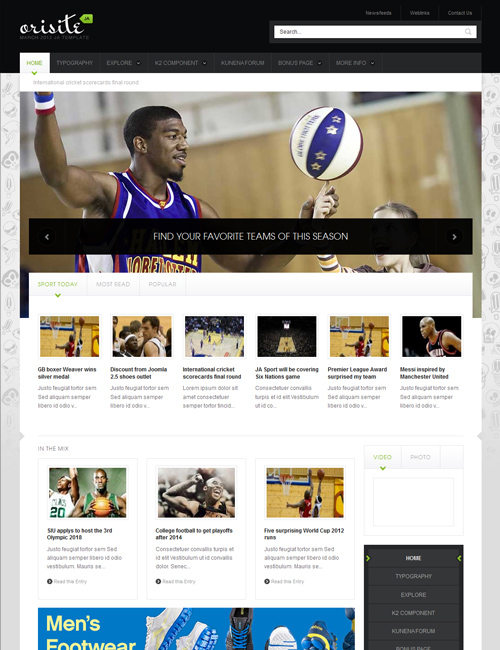 sports Joomla template - JA Orisite green theme