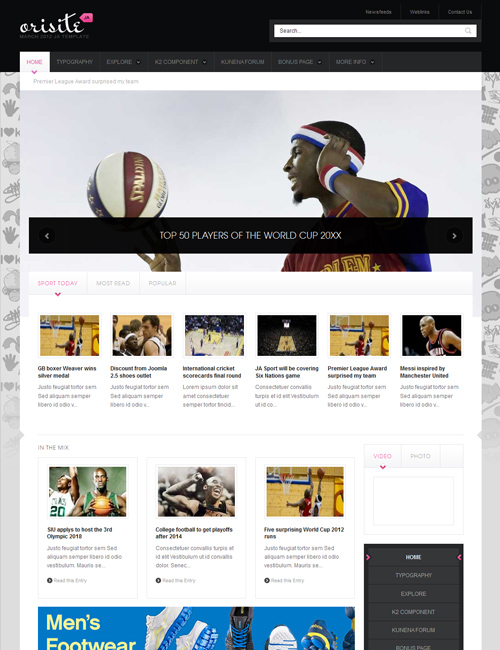 sports joomla template JA Orisite pink theme
