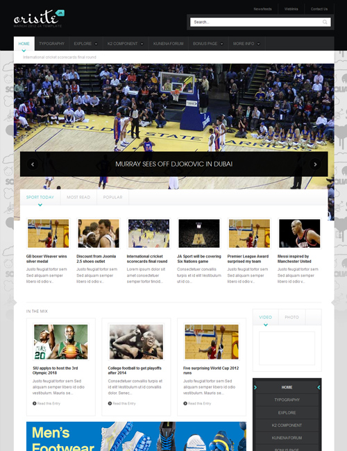 sports joomla template JA Orisite teal theme