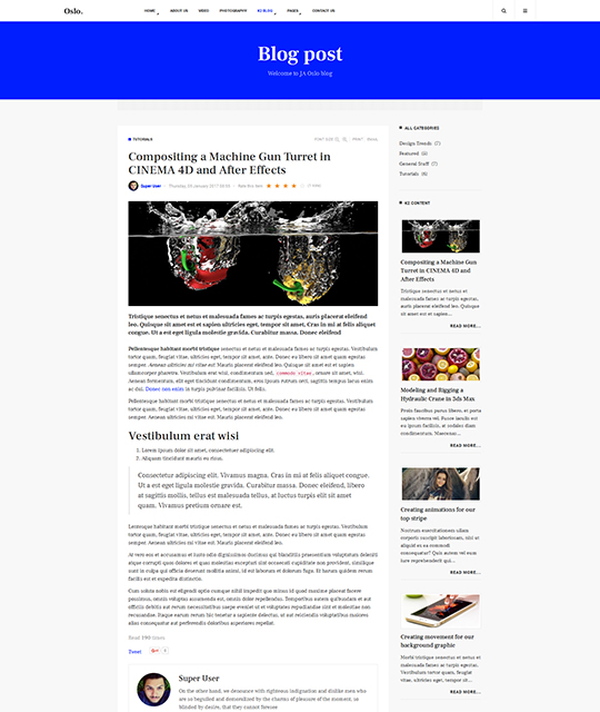 News Magazine Joomla Template article layout - JA Oslo