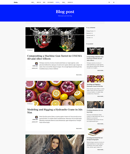 News Magazine Joomla Template news blog layout - JA Oslo