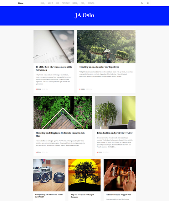 News Magazine Joomla Template blog layout light - JA Oslo