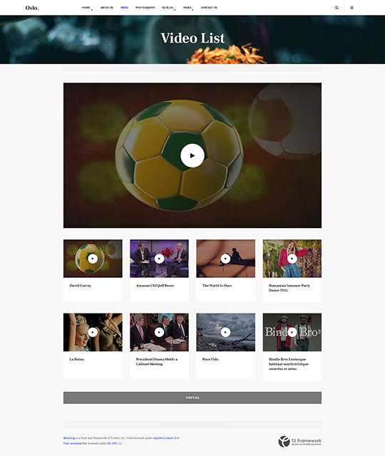 News Magazine Joomla Template video list layout - JA Oslo
