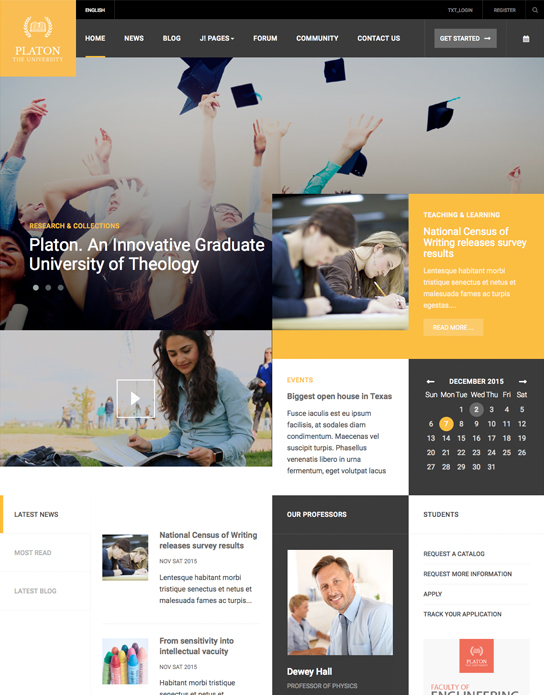 Joomla template for university websites - JA Platon