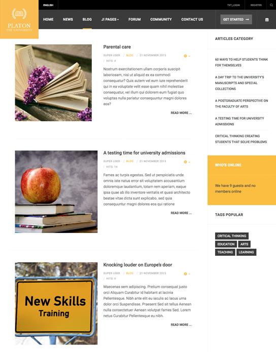 Responsive university Joomla template blog page - JA Platon