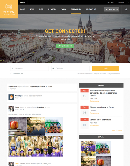 Social page of university Joomla template - JA Platon