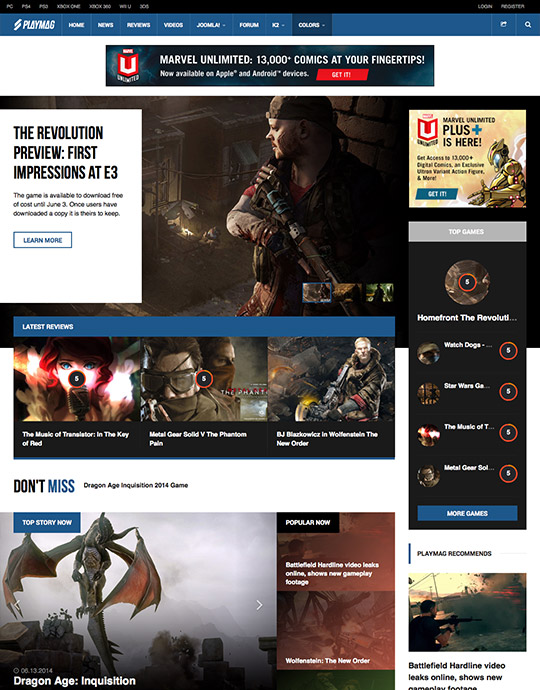 gaming Joomla template blue theme - JA Playmag