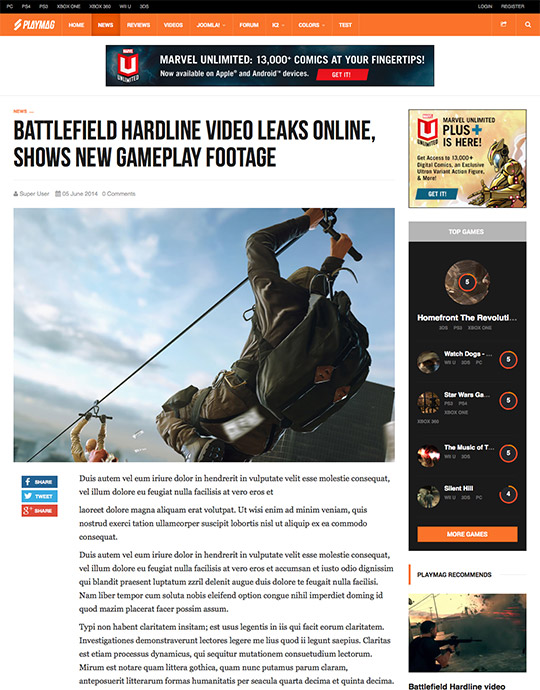 game news joomla template - JA Playmag