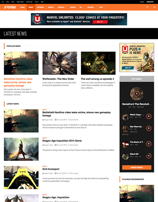 Joomla template for gaming news and magazines - JA Playmag
