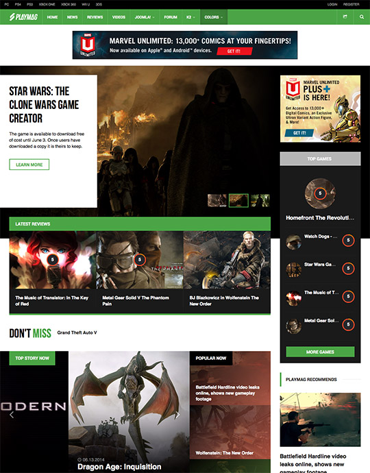 Joomla online gaming magazines Joomla template green theme - JA Playmag