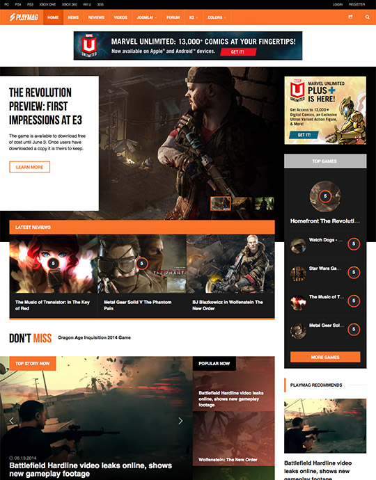 Joomla game magazines Joomla template - JA Playmag