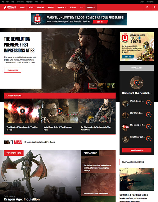 Joomla gaming news template - JA Playmag