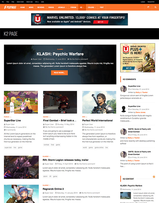 k2 gaming magazines Joomla template - JA Playmag