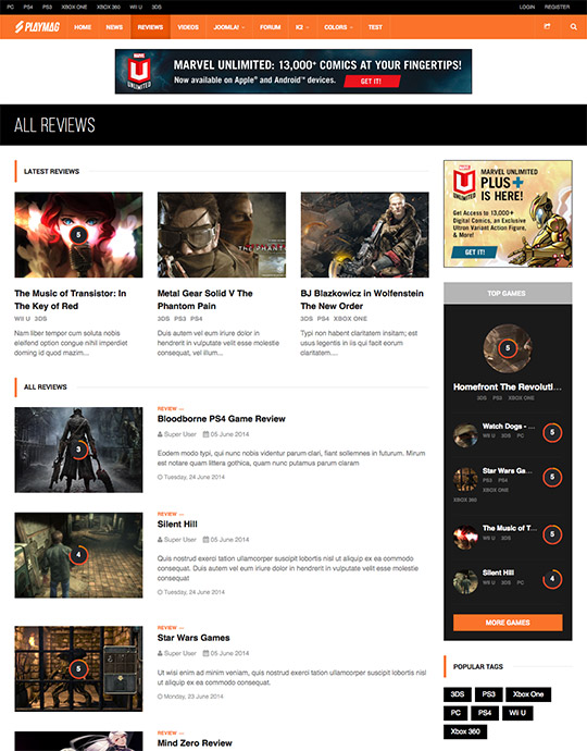 review online games Joomla template - JA Playmag