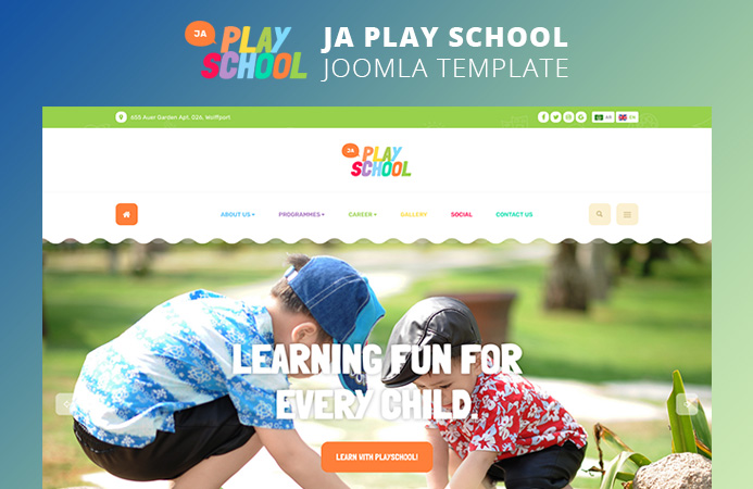 Colorful Joomla Template for kids Preschool, kindergartens