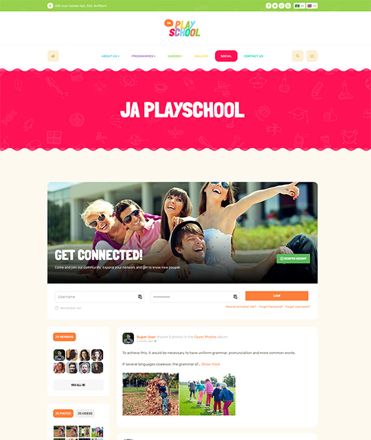 Preschool kindergarten Joomla Templates for kids education community page layout - JA Playschool