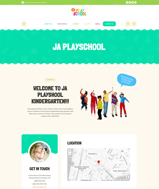 Preschool kindergarten Joomla Templates for kids education contact us page layout - JA Playschool