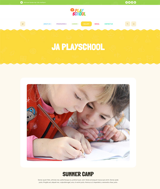 Preschool kindergarten Joomla Templates for kids education gallery page layout - JA Playschool