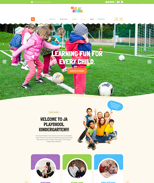 Preschool kindergarten Joomla Templates for kids education colorful homepage layout - JA Playschool