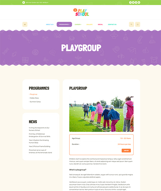 Preschool kindergarten Joomla Templates for kids education program page layout - JA Playschool