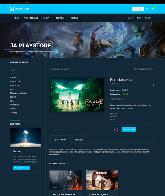 Games review shop Joomla Template games product shop layout - JA Playstore