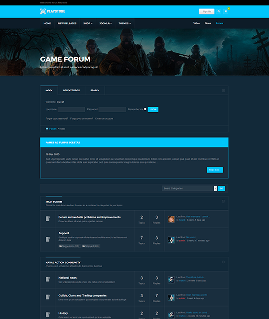 Games review shop Joomla Template Games review discussion forum kunena - JA Playstore