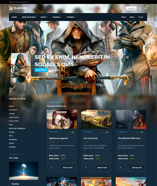 Games review shop Joomla Template home decor list layout - JA Playstore
