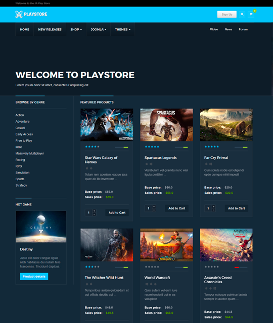 Games review shop Joomla Template games shop layout - JA Playstore
