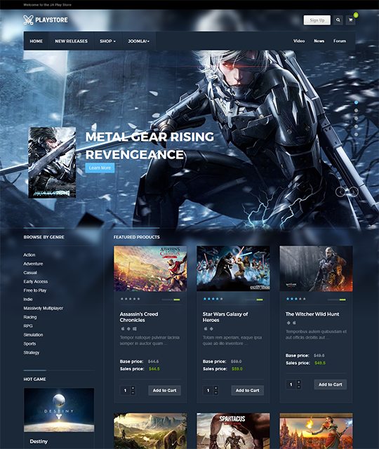 Games review shop Joomla Template homepage - JA Playstore
