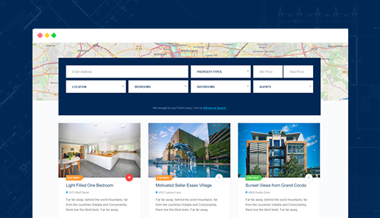 real estate joomla template properties search and filter