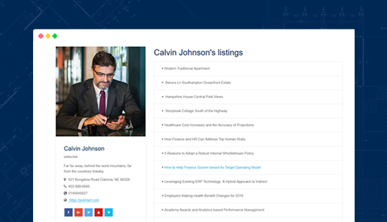 real estate joomla template agent details