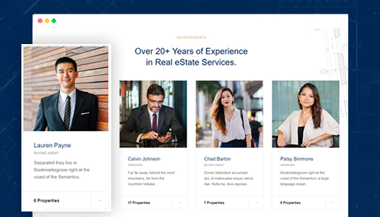 real estate joomla template agents page