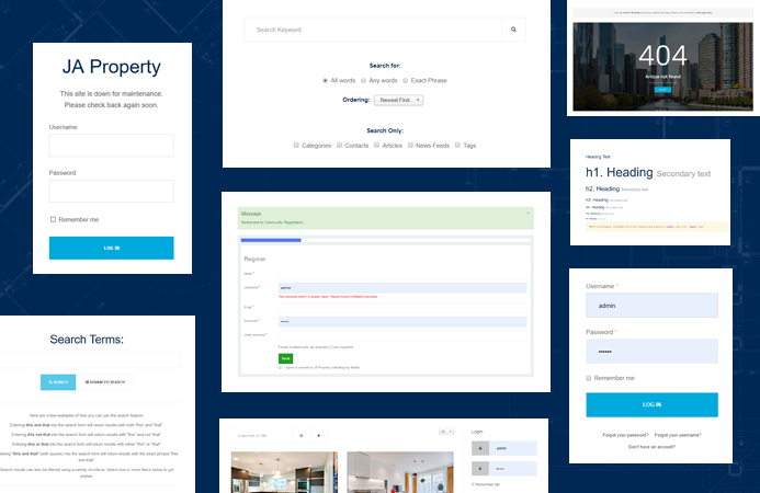 real estate joomla template default pages