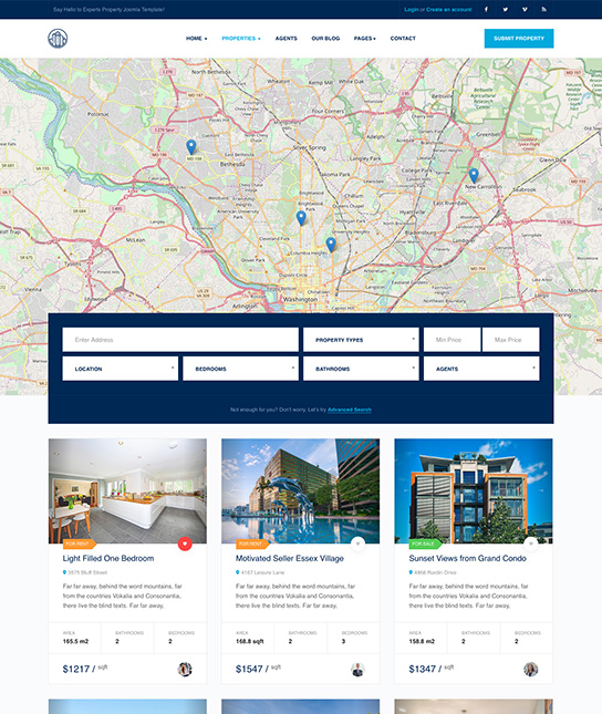 real estate joomla template properties search - JA Property