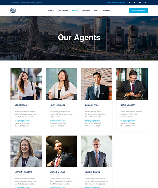 agent list real estate joomla template - JA Property