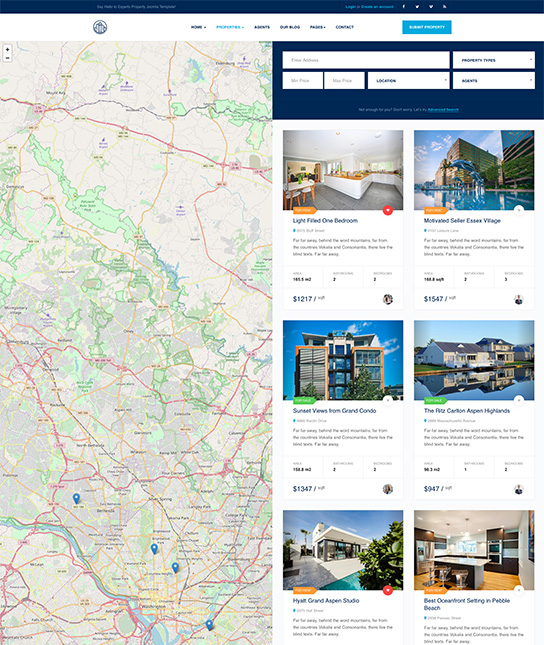 real estate joomla template properties grid layout - JA Property