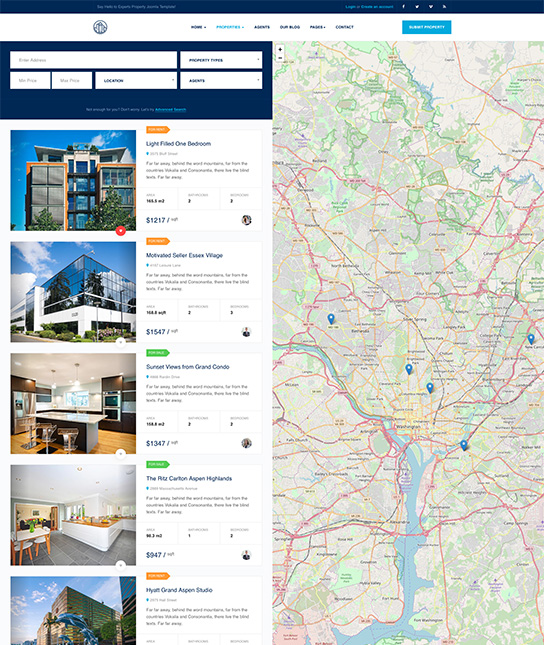 properties list real estate joomla template - JA Property