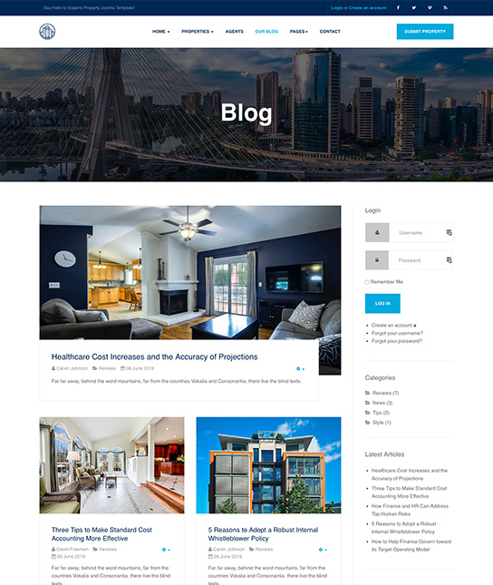 real estate joomla template blog page - JA Property