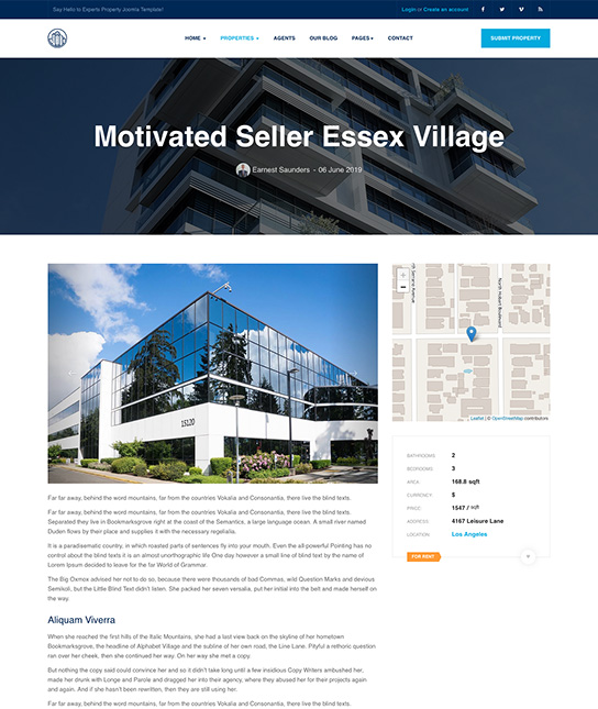 joomla real estate template property details - JA Property