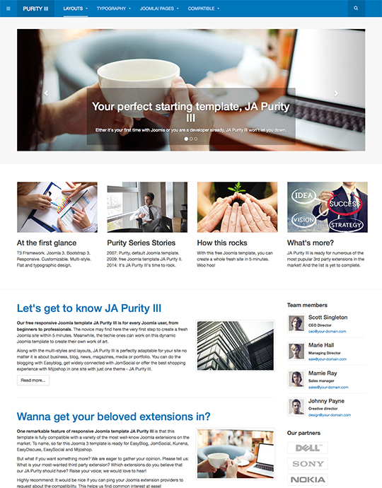 free joomla template for corporate website - JA Purity III