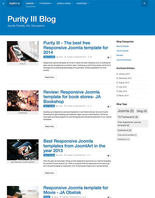 free blog joomla template - JA Purity III