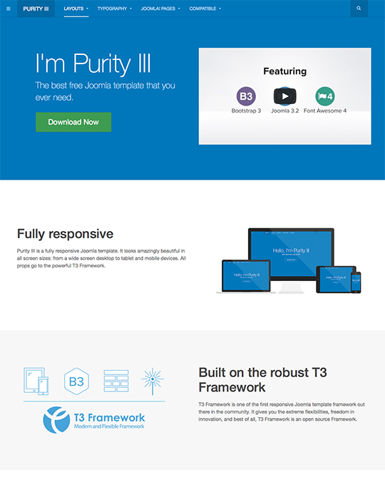 free corporate joomla template - JA Purity III